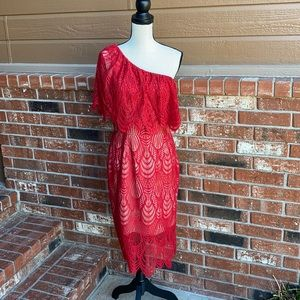 Dress the Population Violet Red Ruby Lace Dress